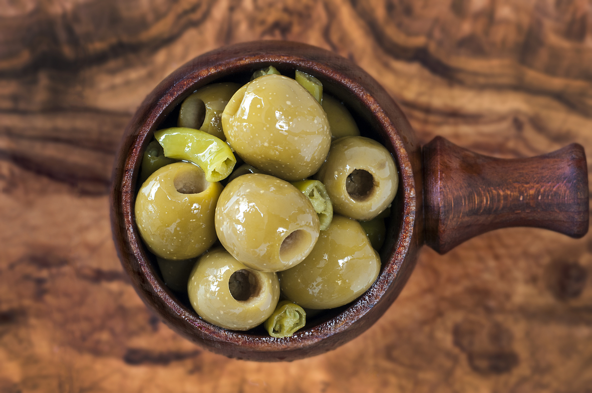 Pitted Spanish Gordal Olives infused with Green Chilli