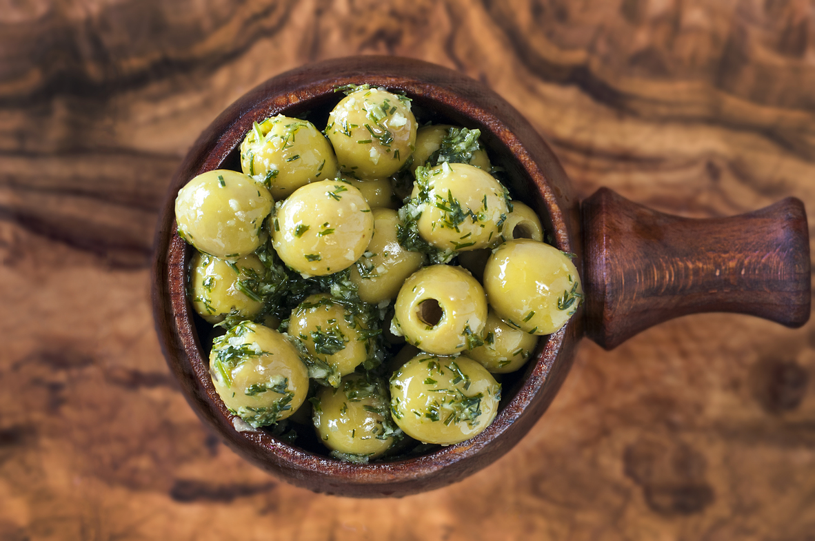 Green Pitted Manzanilla Olives with Dill, Garlic and Lemon Zest and Juice