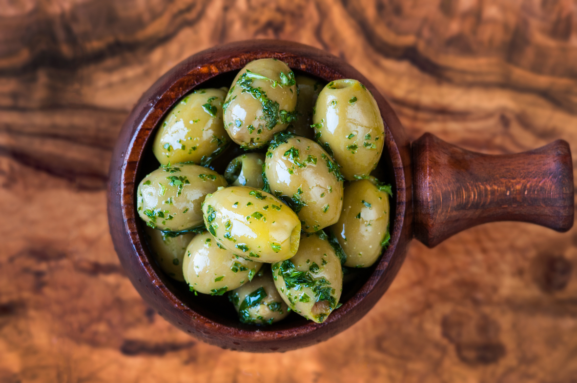 Pitted Green Olives with Parsley, Tarragon, Garlic, Lemon juice